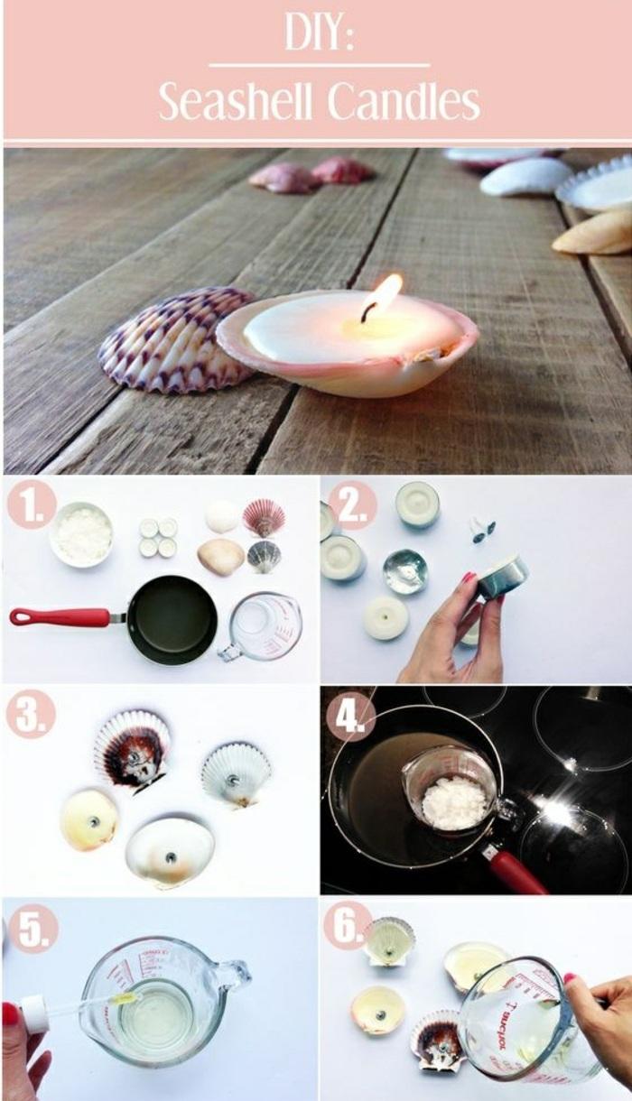 pequeñas velas decorativas en una conchas, velas caseras super originales con tutoriales paso a paso