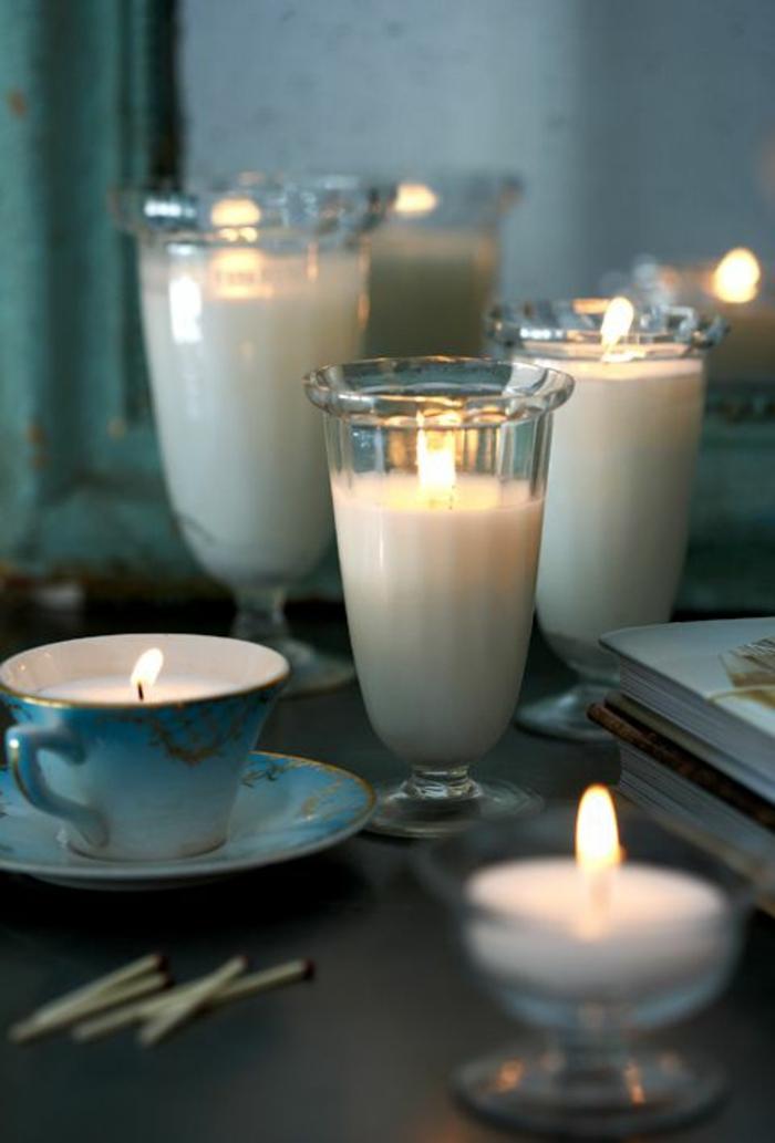 centro de mesa DIY con velas caseras blancas, preciosas ideas de manualidades para decorar la casa