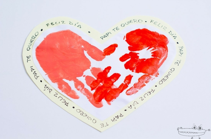 tarjeta corazón con fuerte mensaje, regalos para padres hechos a mano para el día del padre
