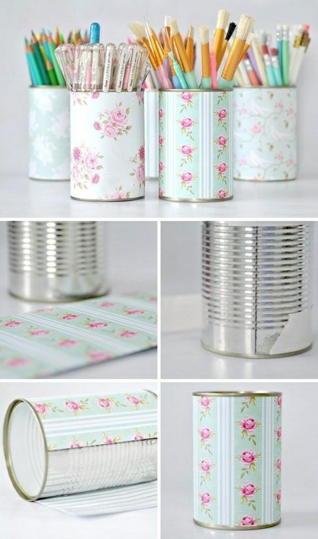 originales propuestas de manualidades con latas de refresco y de comida, cajas lapiceros bonitas