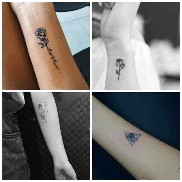 cuatro propuestas de tatuajes de flores con rosas, tattoos en estilo minimalistas con rosas