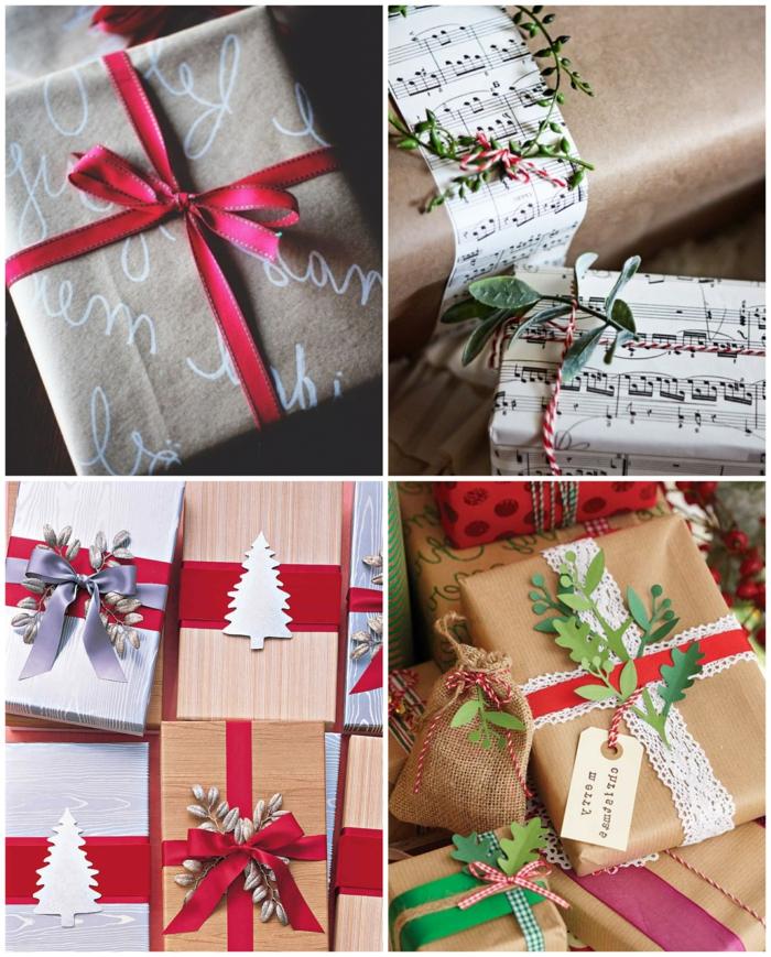 cajas de regalos envueltos de papel craft con bonitas decoraciones, regalos de navidad paso a paso