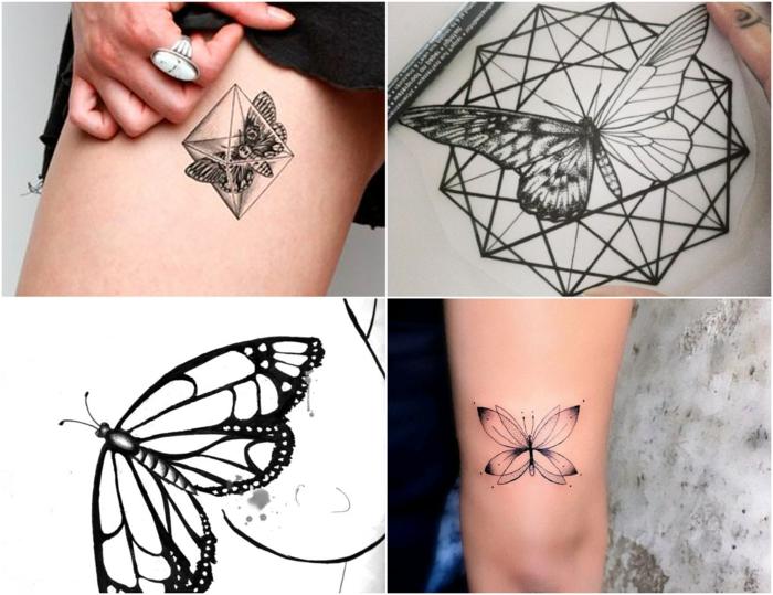 cuatro propuestas de mariposa tattoo color negro, tatuajes con elementos geométricos super modernos