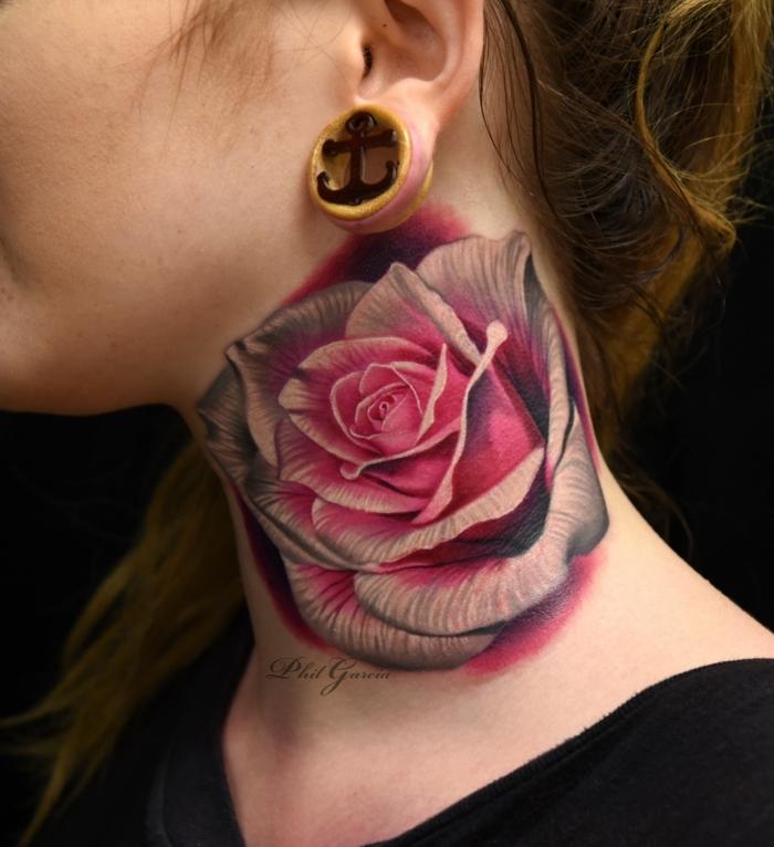 diseños de tatuajes con rosas, grande rosa en color rosado tatuada en el cuello, tattoos para hombres y mujeres