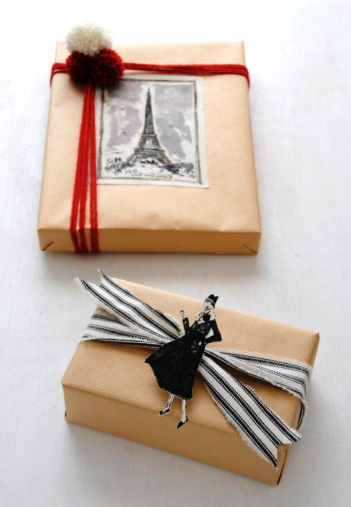 cajas de regalo con papel craft adornadas de bonitos detalles, preciosas ideas sobre como envolver regalos DIY