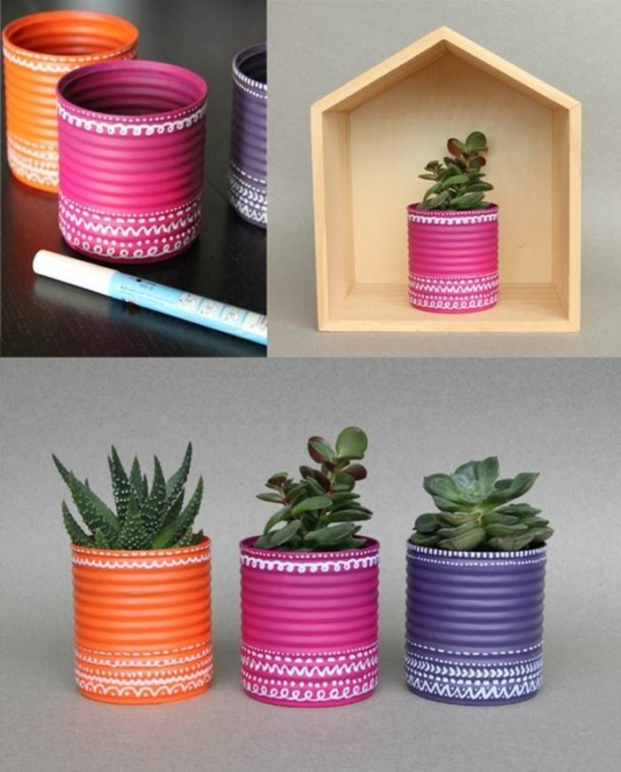ideas sobre cómo reciclar latas de conserva, latas pintadas en colores para decorar la casa, macetas hechas a mano