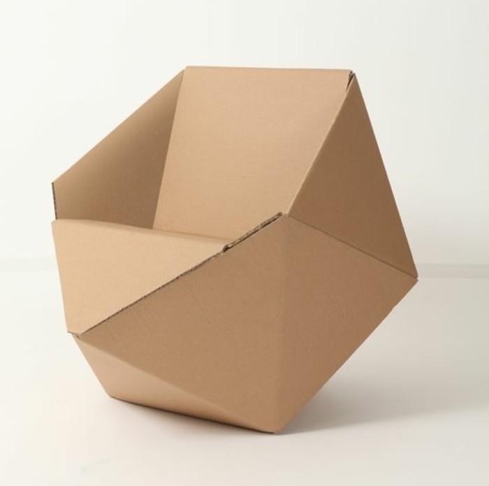silla de diseño único, ideas sobre como hacer muebles de carton, ideas de bricolaje con materiales reciclados