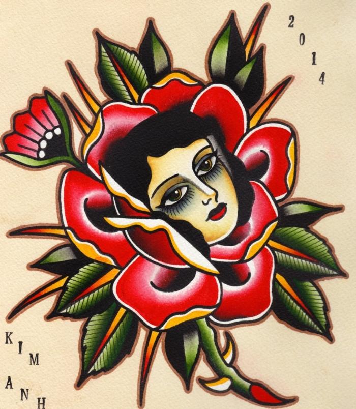 foto de tatuaje vintage con rosa old school y cara de mujer, tatuajes coloridos con flores y sus significados