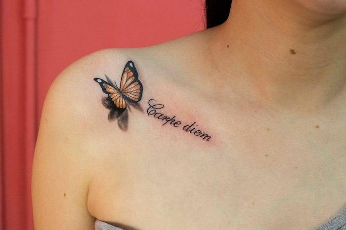 diseños de mariposa tattoo originales y bonitos, tattoo con mariposa y letras, mariposa color amarillo
