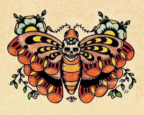 ideas de tatuajes old school con mariposas, mariposa colorida con flores y calavera, propuestas tatuajes en el brazo