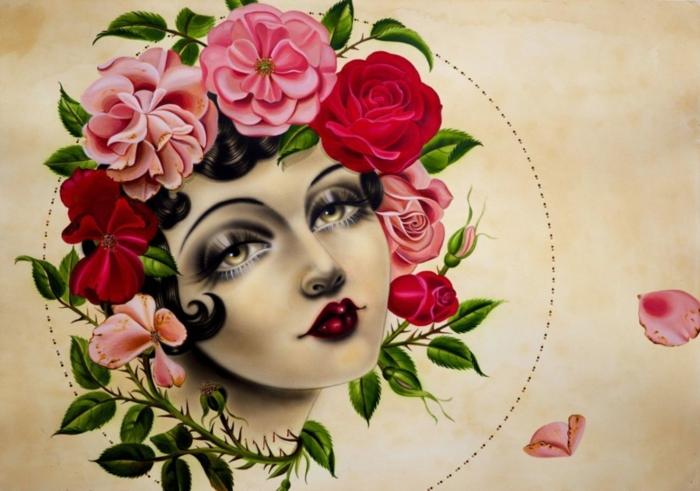diseños de tattoos con rosa old school, mujer con corona de flores, preciosos diseños de tattoos mujer rosas