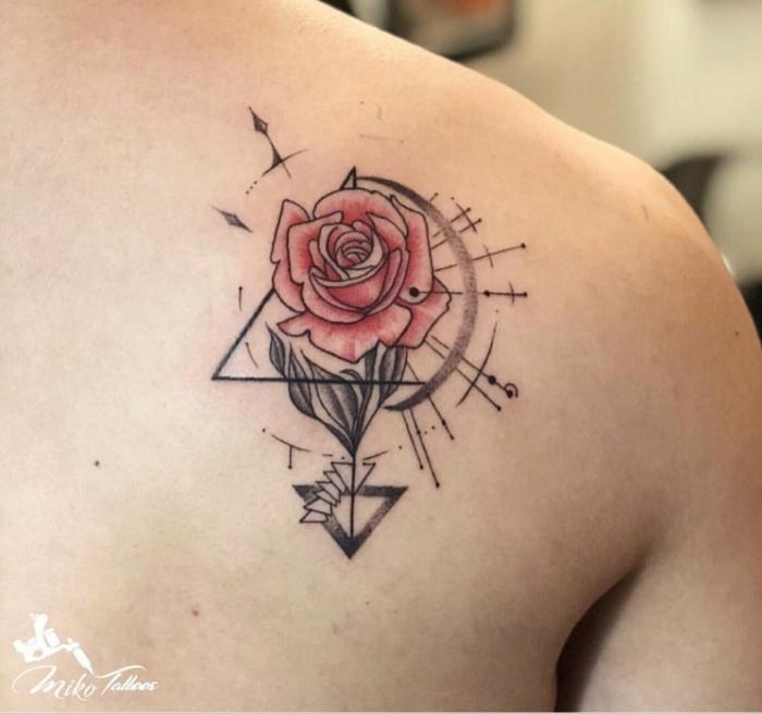 rosa tattoo de diseño geométrico, tatuajes originales con flores y rosas para hombres y mujeres
