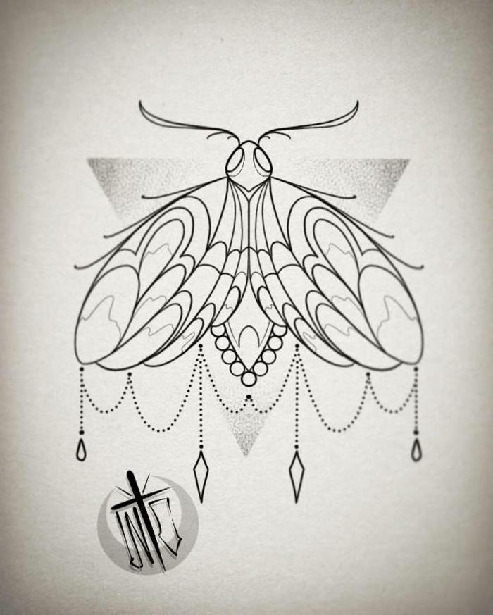 dibujos mariposas originales para tatuajes geométricos, ideas de tatuajes en la pierna originales