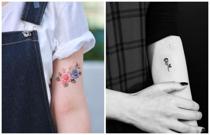 rosas de colores tatuadas en el brazo y una rosa negra en el antebrazo, tatuajes minimalistas con significado