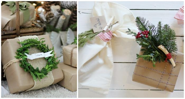 decoración de regalos navideños con materiales naturales, ideas eco friendly para envolver regalos