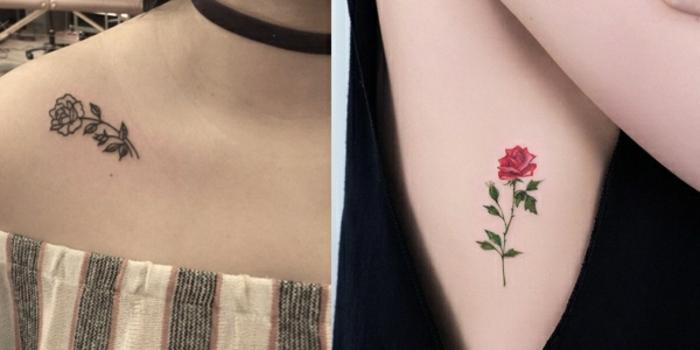 diseños de tattoos con rosas en estilo minimalista, dos pequeñas rosas tatuadas en el hombro y en las costillas