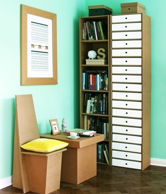 estantería, silla y mesa de cartón, ideas de como hacer muebles de carton, ambiente moderno