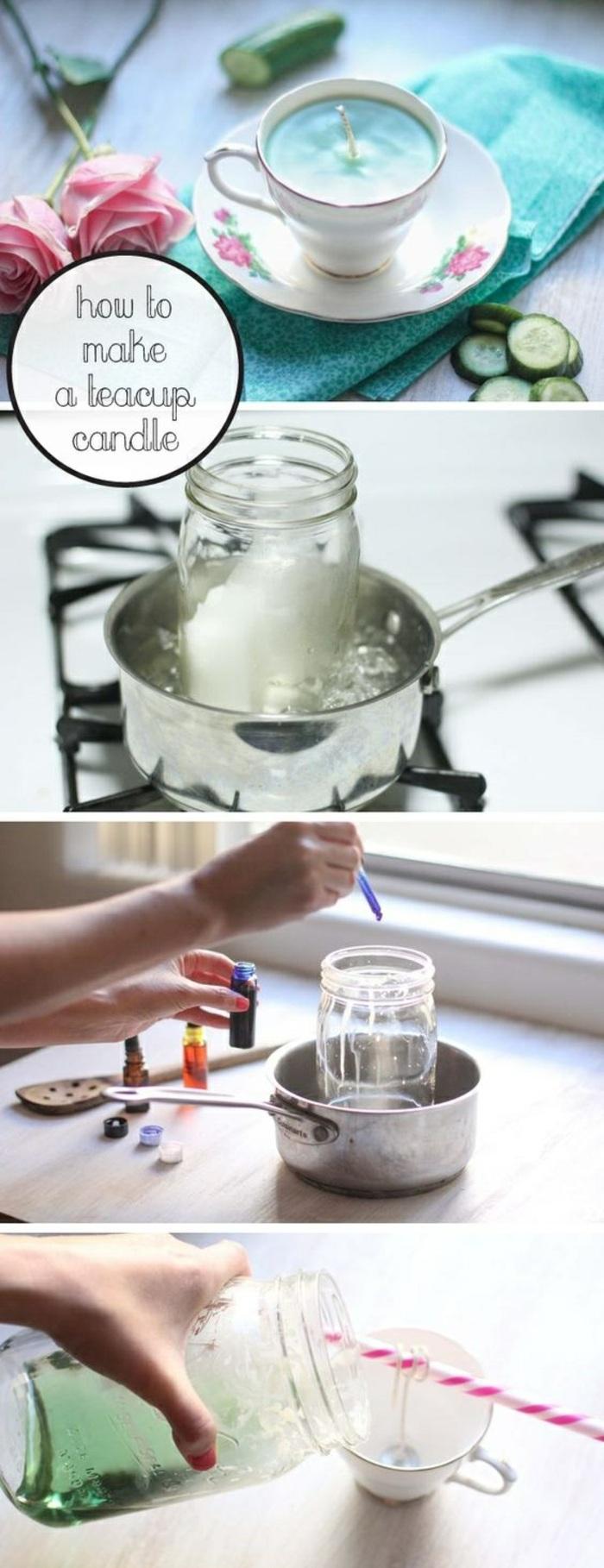 tutoriales sobre como elaborar velas aromaticas en casa con fotos paso a paso, tazas con velas