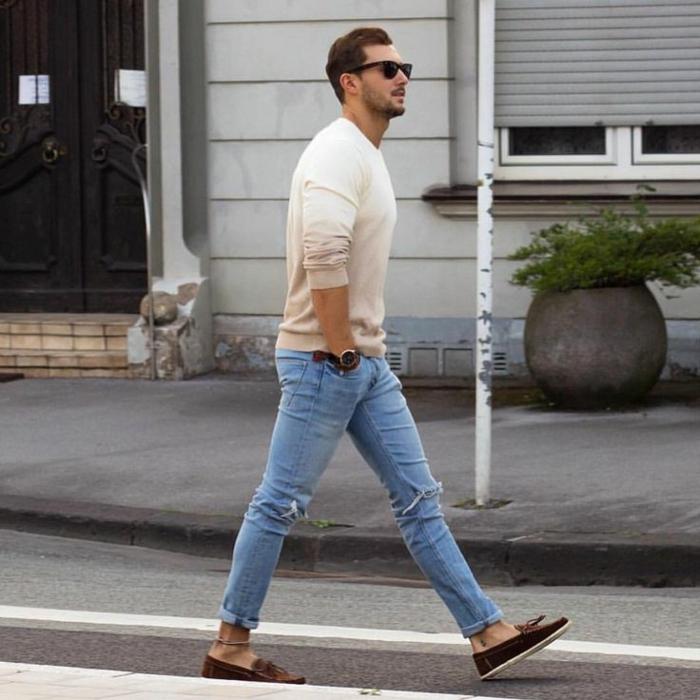 outfit hombre con vaqueros pitillo hasta el tobillo, ropa informal hombre en 60 imagines
