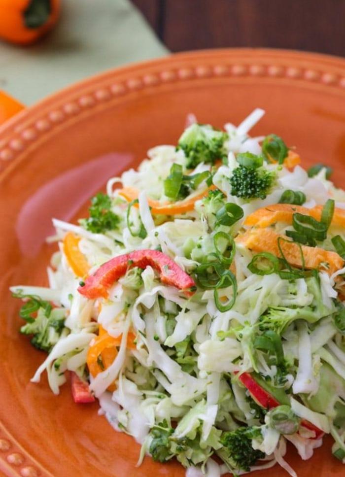 bonitas ideas de ensaladas para adelgazar, ensalada de col, brócoli, pimientos y cebolla