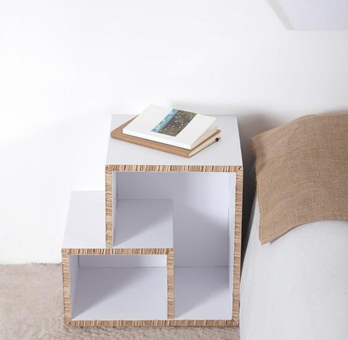 como hacer un estante de carton paso a paso, alucinantes ideas de muebles cartón, mesita de noche DIY