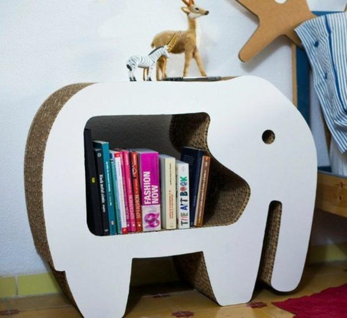 como hacer un estante de carton, mueble decorativo en forma de elefante, diseños de muebles DIY
