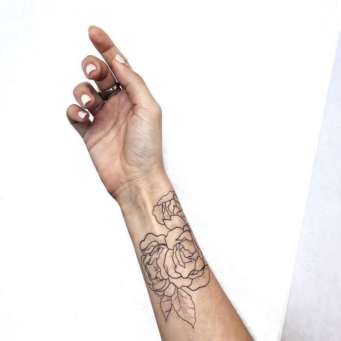 magníficas propuestas de tatuajes antebrazo temporales para mujeres, tatuajes de rosas originales