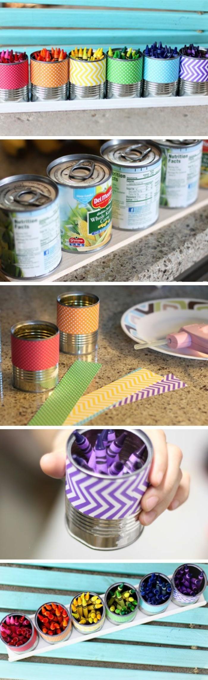 alucinantes ideas de latas de conserva decoradas en colores, decoración de latas con washi tape
