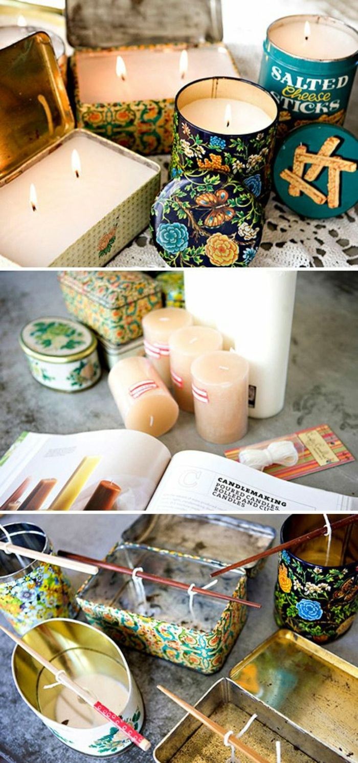 cajas de metal en estilo vintage con velas DIY, ideas sobre como se hacen las velas paso a paso