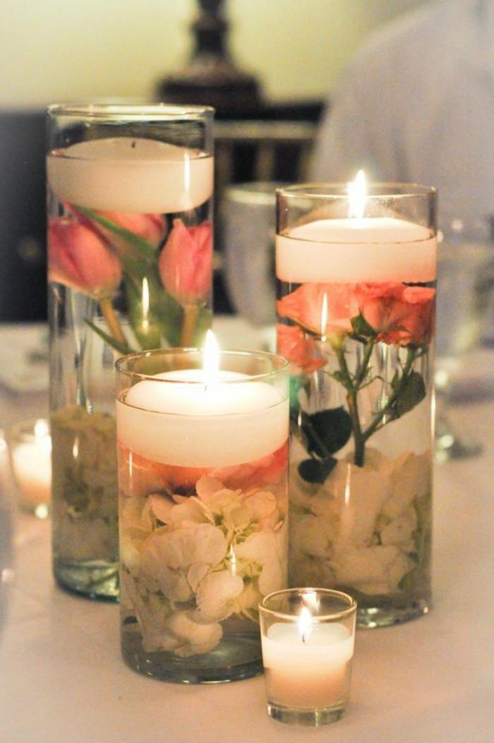 preciosas propuestas de centros de mesa con velas hechas a mano, ejemplos sobre como se hacen las velas