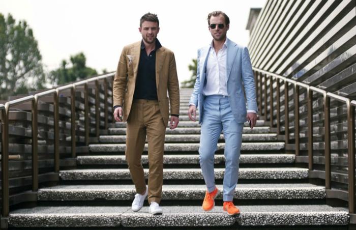 ideas sobre como vestir casual hombre en imagines, dos propuestas de outfit casual moderno