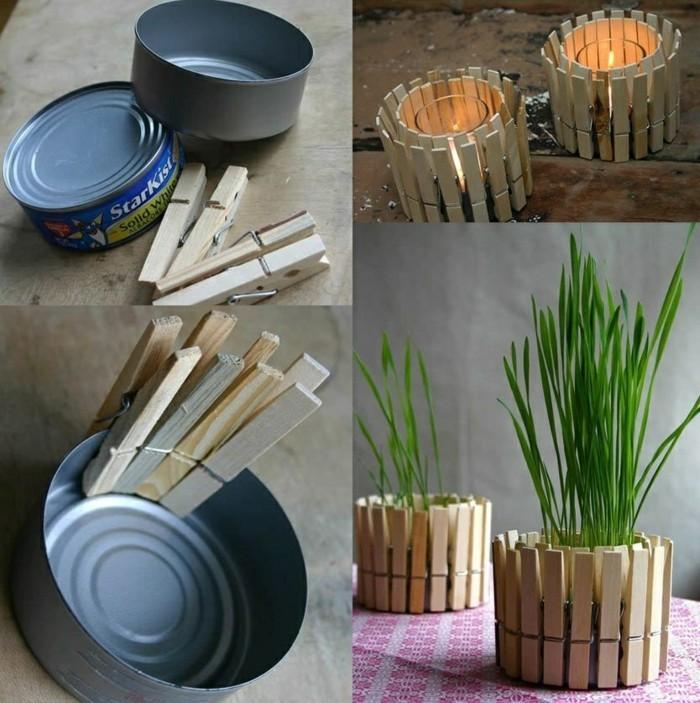 latas de conserva decoradas con pinzas de madera, latas de atún para hacer bonitos candelabros DIY