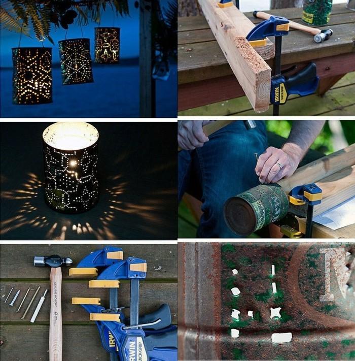 cómo hacer linternas de latas recicladas paso a paso, bonitas ideas de manualidades para decorar el jardín