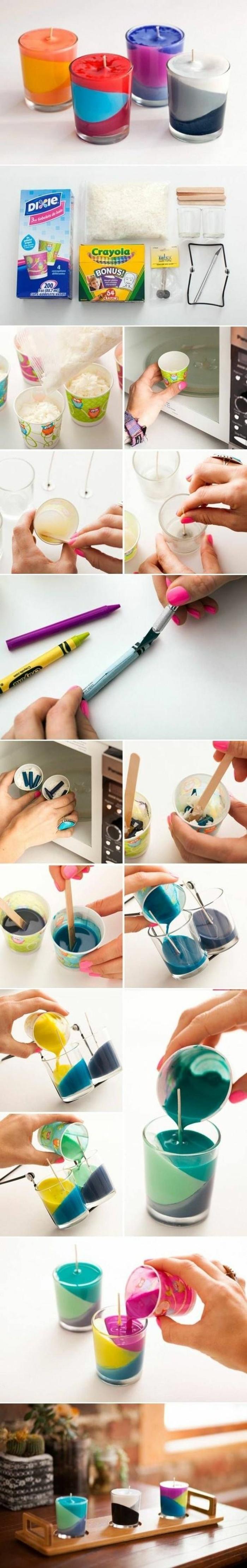 cómo hacer velas atractivas hechas a mano en más de un color, pasos para hacer velas DIY