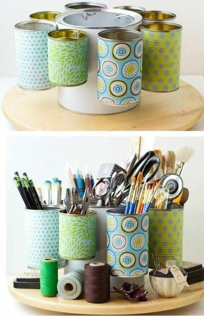 originales ideas de latas de conserva decoradas, cajas de almacenamiento coloridas recicladas
