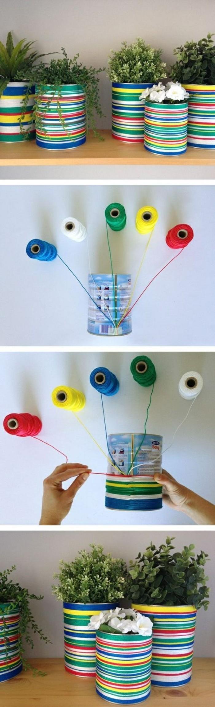 ideas de latas de conserva decoradas con hilos coloridos, decoración casera con materiales reciclados