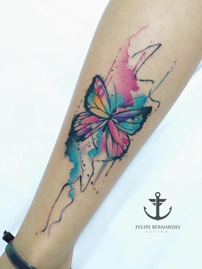 bonitos ejemplos de tatuajes en el antebrazo en colores, tattoos pintura acuarela en colores pastel
