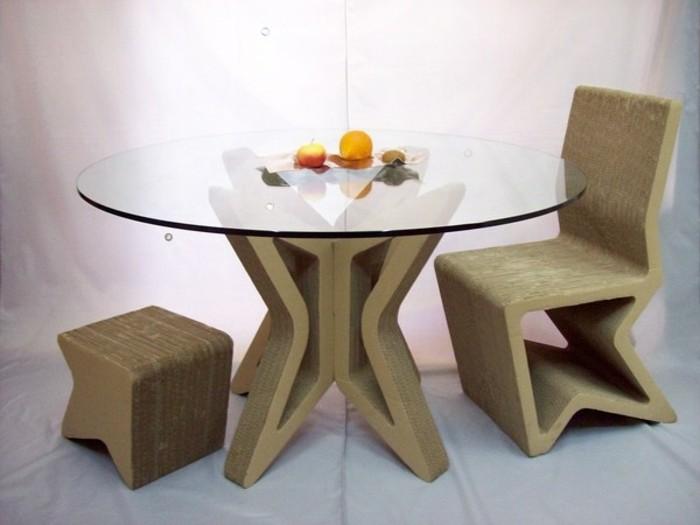 mesa de carton con encimera de vidrio, taburete y silla de cartón originales, muebles DIY