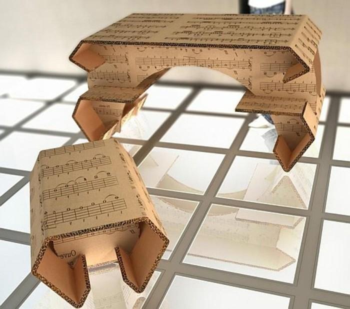 mesa y taburete de cartón originales, imagines de muebles de carton originales, los mejores diseños de muebles reciclados