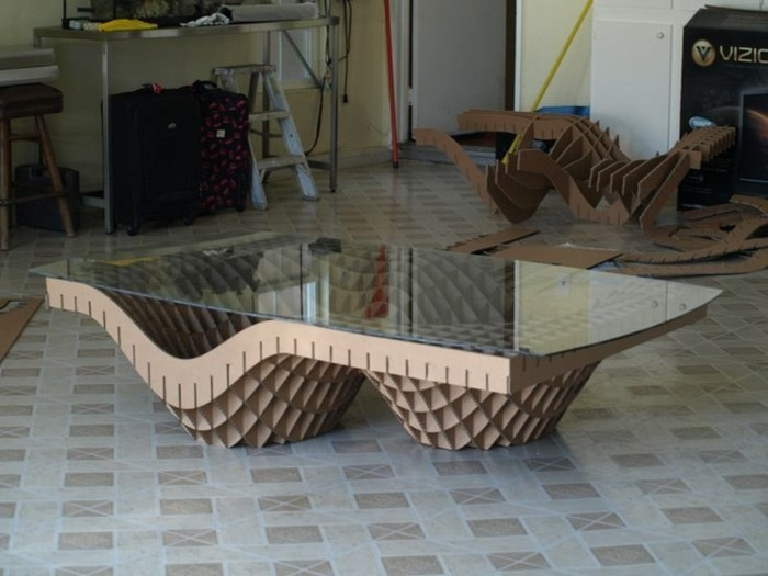 60 imagines de muebles de carton, mesa de diseño único con base de cartón y encimera de vidrio