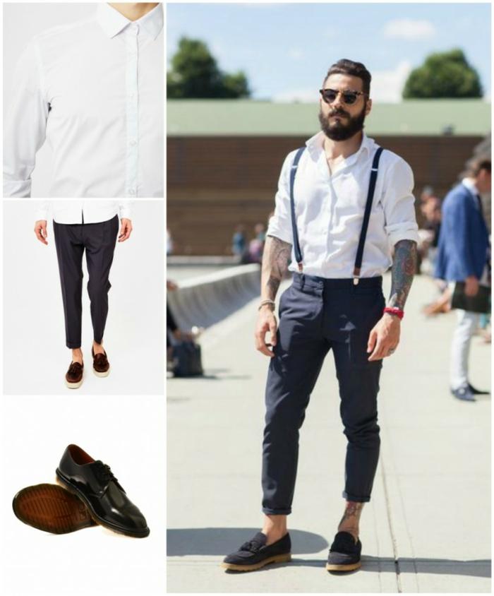 alucinantes propuestas sobre ideas de vestir casual hombre, pantalón pitillo color azul oscuro con tirantes y camisa blanca