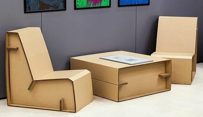 sillón y mesa elaborados de cartón, imagines de muebles de carton originales, ideas de bricolaje con cartón
