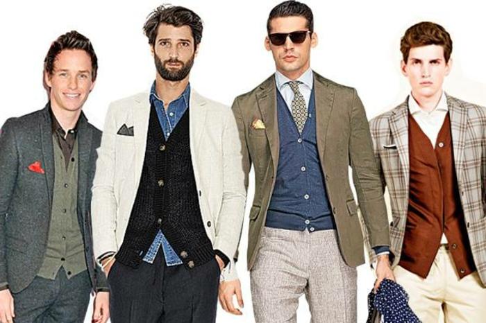 cuatro propuestas sobre como vestir casual hombre, outfits elegantes con chaquetas casuales y camisas