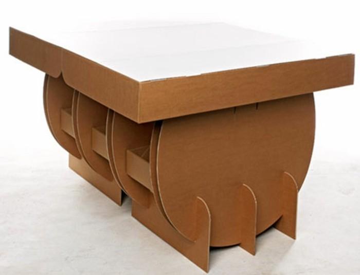 mesa de cartón original DIY, muebles bonitos y funcionales hechos con reciclaje en 60 fotos