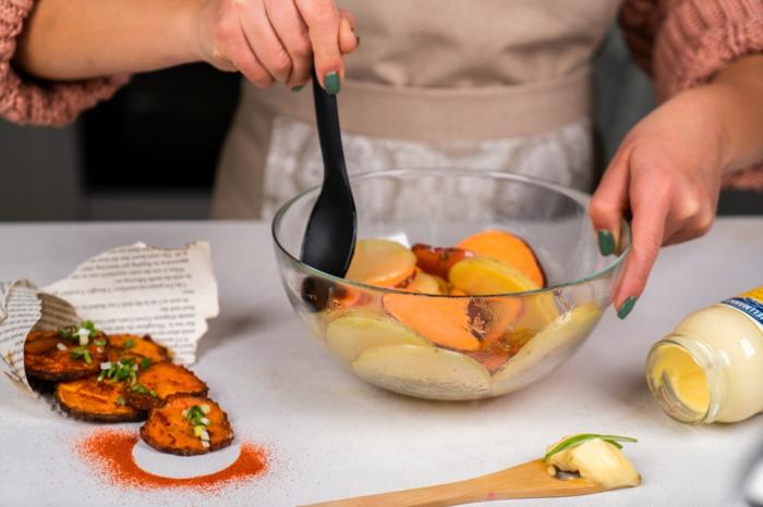 pasos para hacer papas fritas en casas, patatas y batatas al horno, recetas de aperitivos caseros fáciles y rápidos para hacer en casa