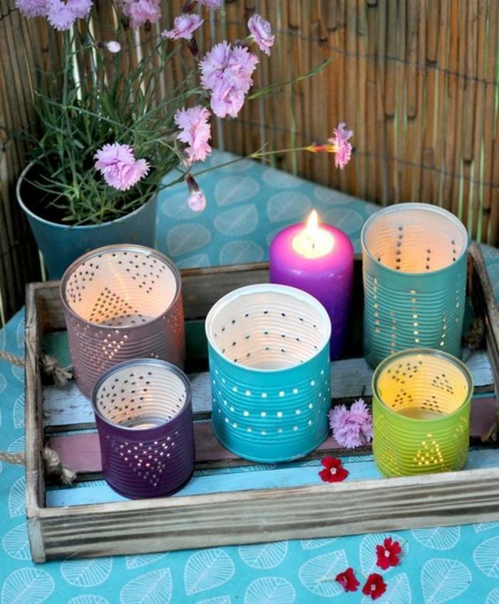 linternas DIY pintadas en colores llamativos, ideas sobre cómo reutilizar las latas de conservas