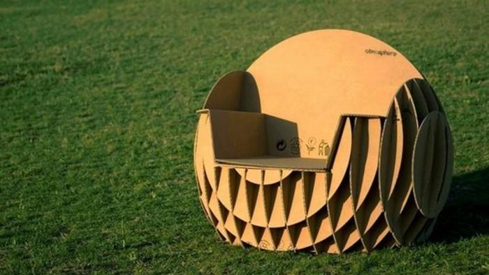silla super original de forma oval para tu jardín, diseño de sillón de cartón DIY original