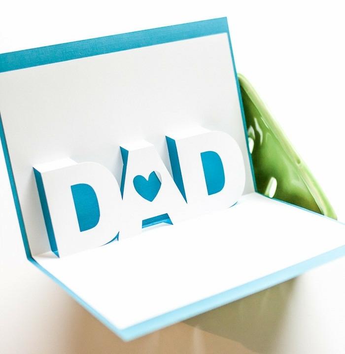 ideas para el dia del padre, tarjeta tridimensional super original hecha a mano de cartulina