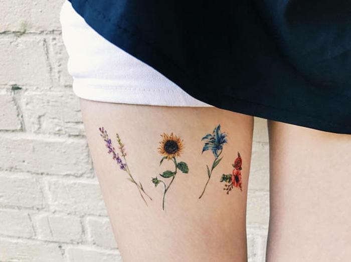 diseños de tatuajes para mujeres no permanentes, dibujos coloridos en la pierna, tattoos originales