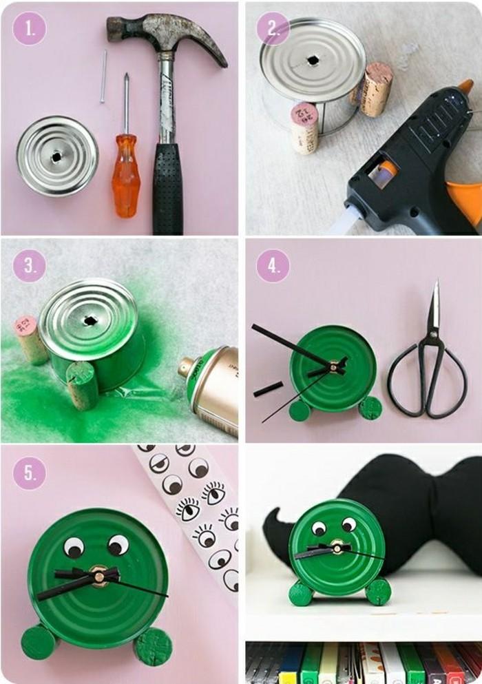 como hacer un reloj casero DIy paso a paso, manualidades fáciles con latas para decorar el hogar